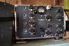 Bendix/Northern Electric Type TA-12 G WWII aircraft transmiter - RCAF/RAF 110D/820. (edk7) Tags: olympuspenliteepl5 slrmagic8mm14rectilinearultrawideanglemanualfocuslens edk7 2018 canada ontario princeedwardcounty bendixradio northernelectriccompanylimited typeta12gaircrafttransmiter madeincanada vintage electronics military secondworldwar worldwartwo worldwarii worldwar2 wwii ww2 rcafraf110d820 dial meter terminal insulator shockmount switch