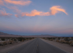 Horizon Highway (zoniedude1) Tags: california desert road horizonhighway sunset sky heartofthemojave anticrepuscularrays view mojavedesert vanishingpoint infinityview sunsetview glowingclouds beauty hwy62 remote outthere middleofnowhere mojave downtheroadview wideopenspaces sanbernardinocounty socal roadtrip exploration adventure canonpowershotg12 pspx9 zoniedude1