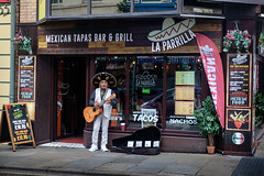Mexican Tapas Bar Busker Bold St. Liverpool City Centre. (James-Burke) Tags: cafes street sombreros tapasbars streetentertainers boldstreet buskers guitars liverpool mexican