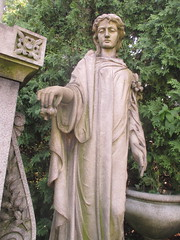 Robotic Woman in Shroud Holding Lily Flowers 7574 (Brechtbug) Tags: robotic woman shroud holding lily flowers greenwood cemetery grave markers head stones graveyard graves yard architecture art sculpture statue women lady marker mourner mourning grief grieving flower bronze ivy brooklyn tomb stone resting tombstone nyc new york city 2018 female figure