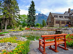 Garden bench with a view of Mt. Rundle: HBM! (peggyhr) Tags: peggyhr bench reflections gardens pond trees mtrundle hbm dsc08413a banff alberta canada heartawards infinitexposurel1 level1peaceawards infinitexposurel2 wow ♣scapes ♣myhatsofftoyou platinumheartawards infinitexposurel3