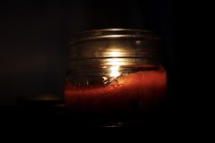 Fire that burns // (BeautifullyIntriguedDesigns) Tags: macro dark hot autumn fall jar mason masonjar candle fire