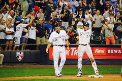 HISTORY!!  Christian Yelich hits for the cycle.  Again. (Andy Ziegler) Tags: fans mlb majorleaguebaseball milwaukeebrewers brewers millerpark milwaukee wisconsin christianyelich history historic record century cycle hitforthecycle triple batting mvp cheering celebration