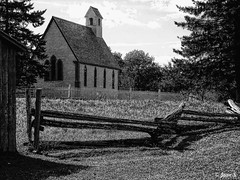 ... (Jean S..) Tags: sky outdoors blackandwhite monochrome bw rural grass fence church