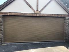 SWS Classic roller door in a woodgrain finish