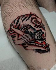 Bert Grimm Tiger Girl (Aperrytattooer) Tags: traditional tattoo traditionaltattoo coleman skull bert grimm bertgrimm colemangirl colemanskull