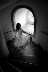 """...y mi vestido volaba en el vaivén de las """"escaleras"""" de la vida...Palacio do Pena-Lisboa (hernandezrodriguezantonio) Tags: portraits portrait ventana luz light escaleras stairs vestido dress model girl beautiful awesome blancoynegro blackandwhite palaciodopena lisboa canon photoispirazione antoniohernández"""