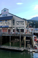 Salmon Landing (Anthony Mark Images) Tags: building stilts water ocean sea docks shopping mountains ketchikan alaska usa 49thstate salmonlanding logs luggage nikon d850