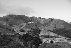 Highway 101 (markjwyatt) Tags: sanfrancisco highway101 highway hills road freeway cars clouds sky trees monochrome