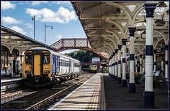 Action station (Blaydon52C) Tags: hexham station railway rail railways northernrail northumberland trains train transport dmu sprinter 156471 66623 freightliner networkrail locomotive locomotives loco
