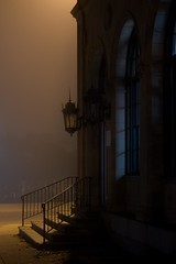 Easton Post Office in fog - IMG_5673 (T. Brian Hager) Tags: eastonpostoffice postoffice entrance fog steps railing morning canoneos7d canon digital color lights sconces shadows