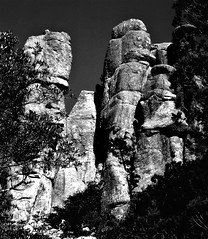 """""""Chiricahua National Monument VIII."""" (Arizona USA) black and white photograph by Diane Marie DeMarco (dianemariedemarco78) Tags: rocks landscape landscapephotography photography fineart fineartphotography art demarco nationalmonument arizona blackandwhite blackandwhitephotography skyisland"""