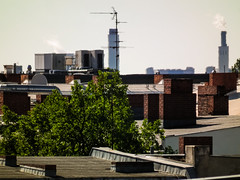 Distant rooftops (Raoul Pop) Tags: heat tar descriptor material structure airconditioning berlin summer tree technology plant germany object distant location city time rooftop place vegetal vegetation de
