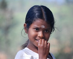 In the Highlands of Sri Lanka (The Spirit of the World ( On and Off)) Tags: srilanka asia southeastasia island child girl local hillside highlands portrait pose hindu candid