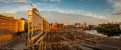 Sthlm pano (fredrik.gattan) Tags: stockholm panorama sthlm buildings architecture city cityscape landscape trainyard trains road street canal hall sky sunset sweden