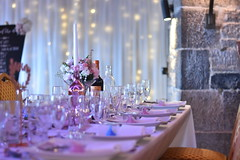Ready for the Celebrations (James Mans) Tags: nikon d5500 wedding celebrations polhawn fort torpoint cornwall 50mm18 flower flowers wine glass plate plates bouquet bride groom marriage