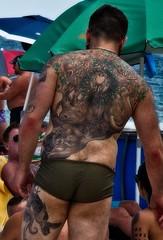 Tattoo Back, detail  11 (LarryJay99 ) Tags: 2018 beach streets people ftlauderdale ocean atlanticocean tattoos backs butts legs man men guy guys dude male studly manly dudes handsome horison fortlauderdalebeach bulges buttsinclothes sportwear profile