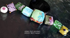 Oldies but Goodies Pillows Tiles Nugget (Laura Blanck Openstudio) Tags: openstudio openstudiobeads glass handmade lampwork murano beads set made usa fine arts jewelry art artist artisan whimsical funky odd colorful multicolor abstract asymmetric earthy organic bohemian boho matte opaque frosted gypsy etched glow glowing nuggets square tiles pillows twistie charm green olive blue aqua turquoise grape violet purple sage ocher coral orange orquid dots