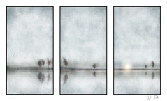 standing on the edge . . . triptych (YvonneRaulston) Tags: trees sun sunset dusk water reflection birds texture atmospheric art abstract artistry creativeartphotography calm colour creative dream desaturated day digitalart digital emotive evening emotion fineartgrunge fog glow impressionist impact icm sky light moody moments mysterious mist sony soft photoshopartistry peaceful surreal sundown together triptych watercolour yvonneraulston