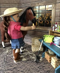 Time for a treat (Foxy Belle) Tags: horse doll saige barn food miniature 14 scale 18 inch ag wood scrapbook paper scene