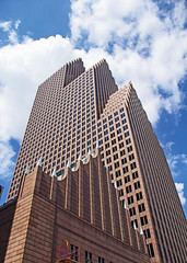 Bank of America Center (Ellsasha) Tags: architecture houston texas building buildings pink granite design bank