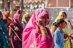 Woman Brushing Her Sari, Vrindavan India (AdamCohn) Tags: adamcohn hindu india vrindavan holi pilgrim pilgrimage pilgrims होली