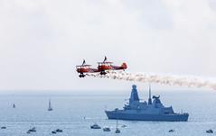 Wing Walkers And HMS Diamond (nicklucas2) Tags: bournemouthairfestival aeroplane wingwalkers sea