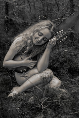 Lover of Music (Luv Duck - Thanks for 13M Views!) Tags: select celeste mandolin modeling model girlinthewoods girlintheforest girlinaforest beautifulgirl beautifulbody curlyhair curvy alaskansummer