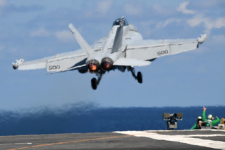 An EA-18G launches from the flight deck of USS Harry S. Truman (CVN 75).