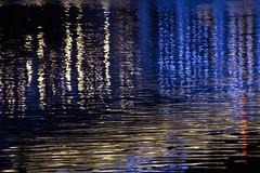 Water reflections beneath the blue bridge (vanessa_macdonald) Tags: nightphotography vancouverisland britishcolumbia night longexpo vanisle bc victoriabc