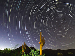 As The World Turns (lloydboy52) Tags: astheworldturns startrails saguaro desert mountain f16 jetfighter bombingrange gunneryrange arizona night nightsky stars northstar polaris astrolandscape astro sky
