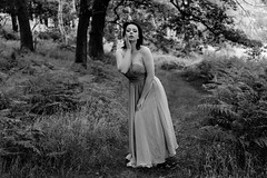 In The Woods (Nouvellesea) Tags: 300dpi woman female woods grass tree trees countryside country blackwhite blackandwhite monochrome dress