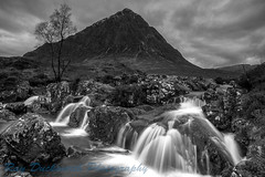 Buachaille Etive Mor (rayduckworth) Tags: landscape waterfall mountain sky rocks tree clouds scotland glencoe monochrome