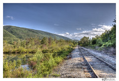 Green Mountains, Vermont (Pearce Levrais Photography) Tags: moutain railroad railway landscape hdr canon sky cloud tree forest bush plant gravel water pond reflection