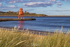 Herd Groyne Colours (robinta) Tags: seascape landscape england ngc herdgroyne lighthouse architecture tynemouth tynemouthpriory sky colour colors grass beach coast sea seaandsand ocean canon 200d sigma sigma1770