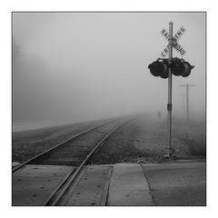RR Xng (Rick Olsen) Tags: rr railroadcrossing signal bw blackandwhite monochrome fuji fujifilm xt2 square