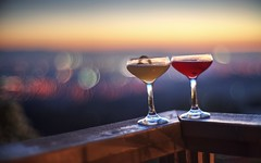 Relaxing, and enjoying the view (PeterThoeny) Tags: sanjose california siliconvalley sanfranciscobay sanfranciscobayarea southbay mthamilton mounthamiltongrandviewrestaurant drink glass relax wood sunset dusk sky outdoor clear dof depthoffield shallowdepthoffield blur bokeh sony a7 a7ii a7mii alpha7mii ilce7m2 fullframe vintagelens dreamlens canon50mmf095 canon 1xp raw photomatix hdr qualityhdr qualityhdrphotography fav200