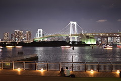 City lights and friday night (Rekha Prasad) Tags: odaibaseasidepark odaiba tokyo japan lowlightphotography nightphotography nightshotnikor35mm rainbowbridgetokyo nikon d3300 nightshottokyocity