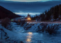 Reflections on Ice (Erik C. Lindgren) Tags: travel railroads trains coloradorailroads coloradotrains bluehour coloradorockymountains colorado californiazephyr amtrak