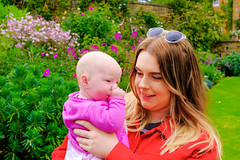 Molly and Melissa (timnutt) Tags: garden xt2 auntie people northamptonshire baby molly child gardens fuji 35f2wr manor midlands 35mm fujifilm cotonmanor