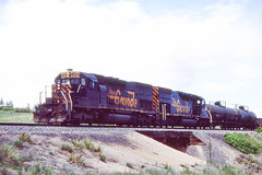 D&RGW SD40T-2 #5370 near Palmer Lake on 5-30-87 (LE_Irvin) Tags: drgw palmerlakeco sd40t2
