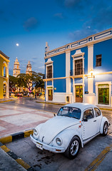 You are never too old to reinvent yourself. (catrall) Tags: mexico yucatan campeche night downtown city vw volkswagen käfer kaefer beetle white church parking nikon d750 fx sigma sigmalens march 2018