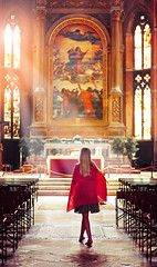 Admirer (Riyazi) Tags: building church cathedral room furniture people religion altar interiordesign architecture indoors bench city placeofworship indoor human chapel table person travel chair woman arch red orange