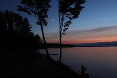 between seasons (~Jim Peacock~) Tags: sunset twilight moon lakesuperior apostleislands nationalpark wisconsin