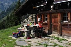 pique-nique à Langemo (bulbocode909) Tags: valais suisse mex langemo alpagedelangemmochalets montagnes piquenique forêts arbres vert rouge bleu chien