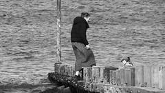 Autumn Afternoon at Portobello 09 (byronv2) Tags: sunny sunlight sunshine autumn portobello edinburgh edimbourg scotland coast coastal sea northsea firthofforth forth rnbforth river riverforth beach portobellobeach blackandwhite blackwhite bw monochrome peoplewatching candid stre