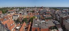 Torun city panoramic view from clock tower - Poland (Ciddi Biri) Tags: torun poland panorama cityscape landscape tower roof travel europe tourism sky summer bluesky omdem5mark2 olymus14150ii takgezlens 2framepanorama m43turkiye city building architecture