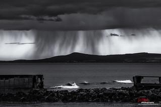 Rain storm over Bon of Cullen, Morayshire