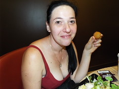 Cheese Balls..... (sean and nina) Tags: sisak croatia croatian serb indoor inside balkan balkans eu europe european summer august 2018 food cheese balls salad eating fun laughing smile smiling happy woman female girl girlfriend fiancee wife married neck throat face bare skin arms tan tanned hand pink lips brown eyes beauty beautiful gorgeous stunning lady charm charming red top spaghetti strap necklace