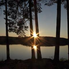 Double sun (Nomad China) Tags: sun sunset aurinko auringonlasku ilta evening repovesi nationalpark kansallispuisto suomi finland tree puu lake järvi water vesi summer kesä
